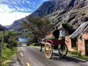 A Jaunting Car passed through the Gap of Dunloe, not far from Killarney
