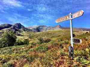A Kerry Way signpost at the Black Valley on the south side of the Gap of Dunloe
